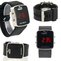 Relogio Led Pulso Puma Sport Black Watch Led Digital S.p