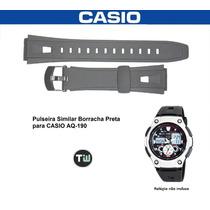 Pulseira Casio Aq-190 Borracha Preta Similar