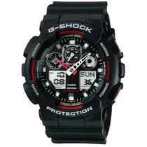 Relógio Casio G-shock Ga-100 Ga100 Preto Vermelho Original