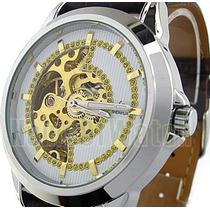 Relógio Pulso Automático Esqueleto Dourado Pulseira Marrom