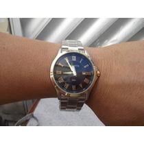 Atlantis G3341 Em Aço Com Dourado Fundo Preto Em Augarismo
