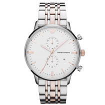 Relógio Emporio Armani Ar0399 Prata Rose Com Caixa E Manual.