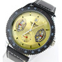 Relógio Dourado Calendário Winner Sport Pulseira Em Couro
