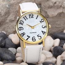 Relógio Feminino Branco Números Grandes Bonito E Barato