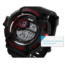Relógio Digital Skmei Preto C Vermelho Presente Natal Barato