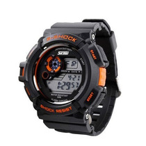 Relógio Display Digital Led Skmei S-shock Preto Com Laranja
