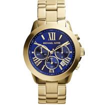Relógio Michael Kors Mk5923 Dourado Azul Com Caixa E Manual,