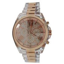 Relógio Luxo Mk5905 Orig Chron Anal Ouro Rosé Acrylic!!!