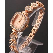 Relógio Pulseira Elegante Feminino Luxury C/ Strass Dourado