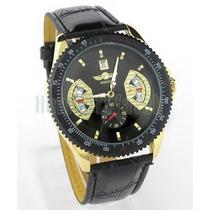 Relógio Clássico Winner Calendário Golden Black Automático