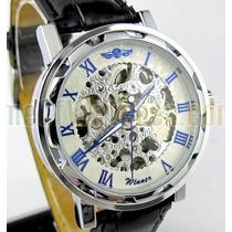 Relógio Sport Winner Skeleton Branco Azul Mecânico Promoção