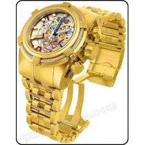 Relógio Invicta Bolt Zeus 13756 13757 Gold Skelecton Novo !
