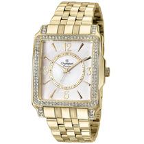 Relógio Champion Feminino Quadrado Com Pedras Cn28697h