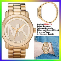 Relógio Michael Kors Mk5473 Gold 45mm Oversized Original !