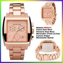 Relógio Michael Kors Mk5331 Quadrado Ourorosê 37mm Oversize