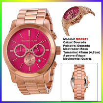Relógio Michael Kors Mk5931 Ouro Rosê Pink 47mm Oversized !