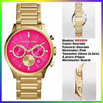 Relógio Michael Kors Mk5909 Gold Pink 43mm Oversized Novo !