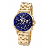 Relógio Alemão Konigswerk® Gold Azul Marcadores De Cristal