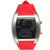 Relógio Velocímetro Led Pulso Masculino Rpm Vermelho Novo