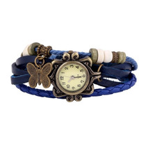Relógio Feminino Em Couro Tipo Bracelete Com Pingente