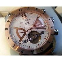 Relógio Masculino Prata Com Rose Fd Branco