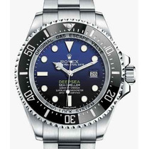 Relogio Deepsea Preto Azul Safira Acab. Eta 12x Sem Juros