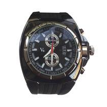 Relógio V6 Sport Watch Em Aço Preto Metálico Caixa Robusta