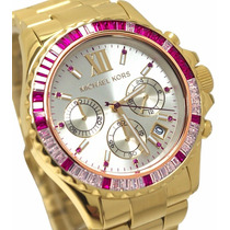 Relógio Dourado Michael Kors Strass Feminino Mk