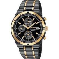 Relógio Seiko Masculino Snaa30 Cronograf Black Dourado Misto
