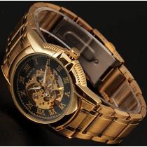Relógio Masculino Automático Skeleton Dourado Luxo