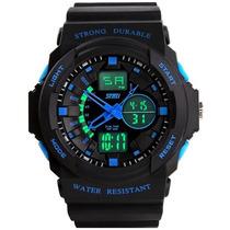 Relógio Dual Time Analógico E Digital Led Skmei 0955 Azul