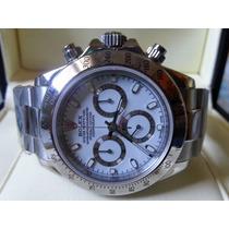 Relógio Eta Valjoux Modelo Daytona Dial Branco + Caixa Rolex