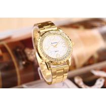 Relógio Dourado Quartzo Moda Feminina