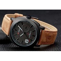 Relógio Curren Original- Pulseira De Couro Preto / Branco