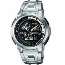 Relógio Casio Aqf102 Aço Termômetro Hora Mundial Resist 100m