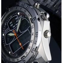 Relógio Sport Black Aço Inoxidável Luz Led Digital Analógico