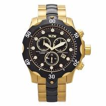 Relógio Wzw 7241 Masculino Dourado Com Preto Em Aço Grande