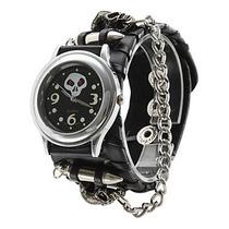 Relógio Bracelete De Couro Rock Ballads. Estilo Único.