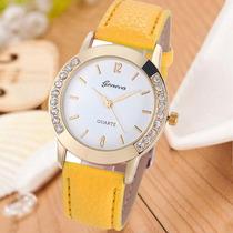 Relógio Feminino Strass Dourado Amarelo Importado Barato Gen