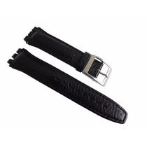 Pulseira Swatch Preto Luxo Irony Couro Tipo Croco 19mm