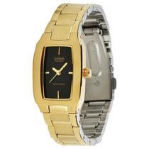 Relógio Casio Feminino Ltp1165 Dourado C/ Preto Todo Em Aço