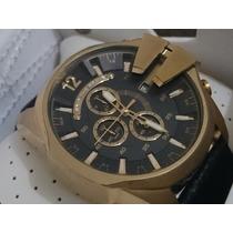 Relógio Luxo Dle-sel 52mm Dourado Visor Preto Caixa Manual
