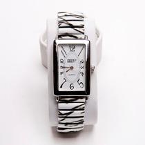 Relógio Feminino Pulseira Preta E Branca Quadrada