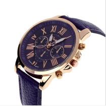 Relógio Feminino Quartzo Clássico Algarismo Romanos Roxo