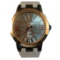 Relógio Masculino Ouro Branco Silicone Número Romano Naimer