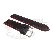 Pulseira Couro Preta 24mm Costura E Lateral Vermelha Luxo