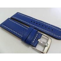 Pulseira Couro Azul 24mm Grossa Com Costura Branca Luxo