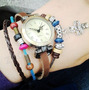 Relógio De Correia Tipo Bracelete Colorido De Couro Clássico