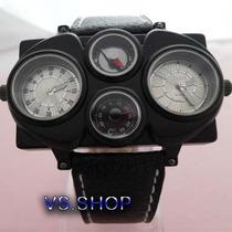 Relógio Militar Piloto C/ Bússola E Termômetro Branco Único