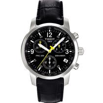 Relógio Tissot Prc200 Couro Preto Original Na Caixa E Manual